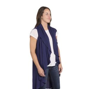 Navy Solid Soft Knit City Wrap